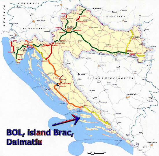 Zlatni Bol location and Bol Croatia Map