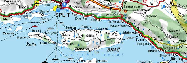 If you arrive at split airport or bol airport by plane take a taxi ferry map split supetar hvar croatia publicscrutiny Choice Image