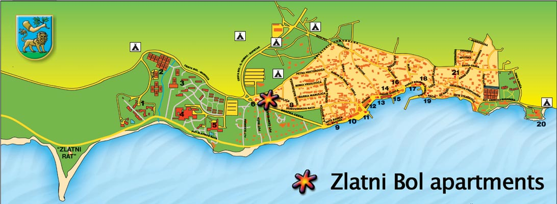 Apartments Zlatni Bol location and Bol Croatia Map